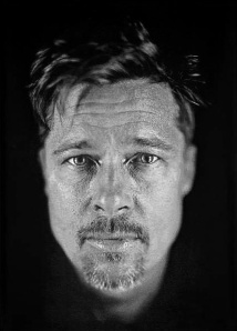 Brad Pitt daguerreotype portrait by Chuck Close, 2009