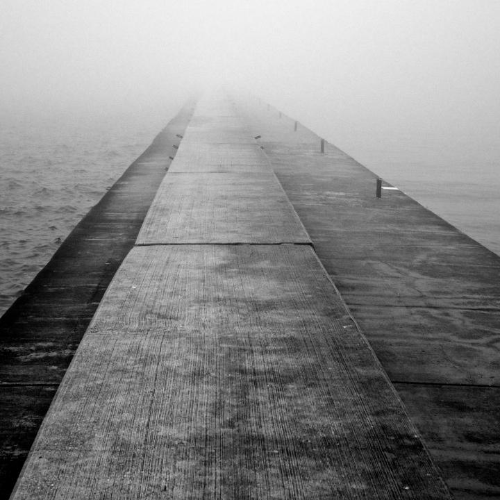 """Pier in Mist"" Waukegan Pier, Waukegan Harbor, IL, Oct 3, 2013"