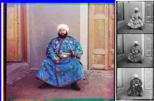Figure 4: Picture and filtered negatives of Alim Khan (1880-1944), Emir of Bukhara, 1911,  by Sergey Prokudin-Gorsky