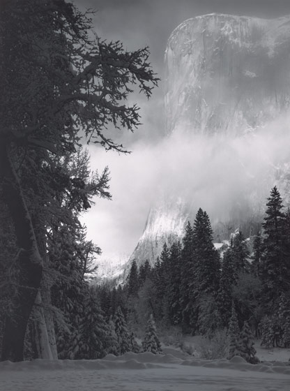 El Capitan, Sunrise, Winter Yosemite National Park, 1976 Print from 1968 Polaroid negative, by Ansel Adams