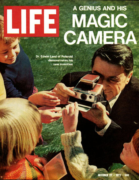 Edwin Land with SX-70 Camera on the cover of October 27, 1972 issue of LIFE