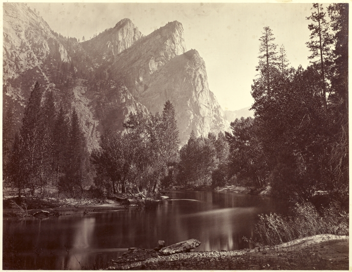Figure 3:  The Three Brothers 4000 ft, Yo-Semite Valley, 1872, by Carleton Watkins, from the J. Paul Getty Museum